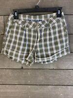 One Tuff Babe 651 Green Blue Plaid Shorts Junior's 3/4