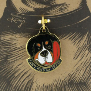 """Primitives by Kathy Dog Collar Charm """"Can't Hold My Licker"""" Puppy Funny Gift"""