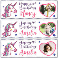 2 Personalised Birthday Banner Photo Unicorn Children Girls Adult Party Poster