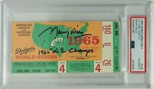 """Maury Wills Signed 1965 Game 4 World Series Ticket """"1965 WS Champs"""" *Dodgers PSA"""