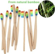 AZDENT 100%NATURAL BAMBOO/WOODEN RAINBOW TOOTHBRUSH ECO-FRIENDLY BIODEGRADABLE.