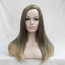 No bangs Light Brown mix golden blonde tip Long Straight Middle Part Women wig
