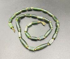 old antique Pyu period  green jade beads
