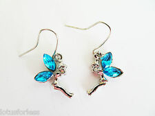 Cute Fairy Tinkerbell Dangle Drop Earrings with Coloured Diamante in Silver Tone