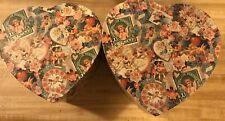 Decoupage Heart Boxes (2) Cardboard 8 1/2 X 9 X 4 Largest One Nice!