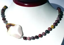 Schöne Bunte MOOKAIT Jaspis Kette aufgekn. 100% Seide mit BILDSTEIN 925 52cm