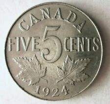 1924 CANADA 5 CENTS - High Quality Key Date Coin - Lot #M30