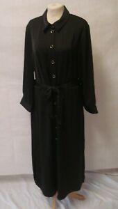 BNWT River Island Black Silky Stretch Shirt Dress ~Size 14/16~