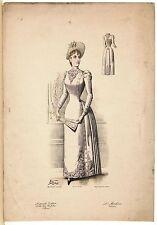 Stampa antica MODA FRANCESE DONNA abito bianco con ricami 1889 Old antique Print