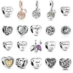 Genuine 925 Sterling Silver Family Wife Dad Nan Auntie Heart Charm + Gift Pouch