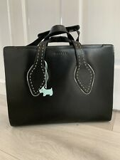 Radley Briefcase Laptop Bag Black Leather Large Work Bag with detachable Strap