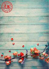 Legno Blu Fiore sfondo carta da Parati Vinile Sfondo Foto di scena 5X7FT 150x220CM