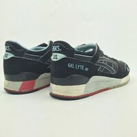 Asics Gel Lite 3 Lyte III Black Suede Blue Running Shoes Mens Size 8 Mint