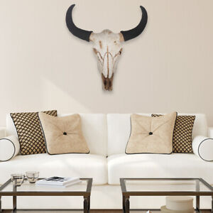 Resin Cow Horned Skull Head Wall Decor Faux Taxidermy Cow Bull Bison Skull Props