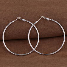 Womens 925 Sterling Silver 70mm Extra Large Round Thin Hoop Earrings #E162