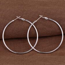 Large Round Thin Hoop Earrings #E284 Womens 925 Sterling Silver Elegant 50mm