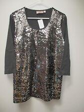 QUACKER FACTORY Charcoal Gray Sequin Front T-Shirt L