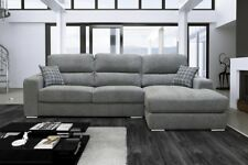 Marinel Fabric Corner Right Hand Sofa Grey Cushions Solid Chrome Luxury Suite