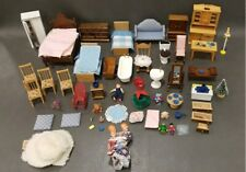 Dollhouse Miniatures Furniture Vintage Lot 68 Pieces with Doll Family