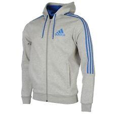 adidas ESS 3Streifen Hoodie Kapuzenjacke Jacke Sweat Grau S M L XL XXL NEU Blau