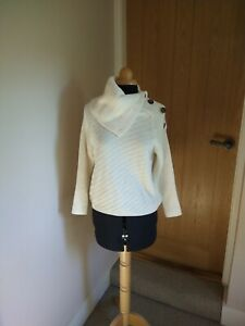 Womens M&S Collection Cream Jumper Size Small High Neck Buttons Worn Once