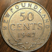1907 NEWFOUNDLAND SILVER 50 CENTS - Excellent example!