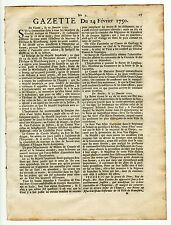 1750, Feb.14,Original French Gazette, De La Galissoniere,Possessions of America