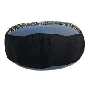 40Cm Round Meditation Cushion Kapok Filled Blue