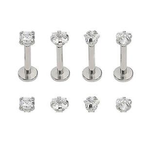 Surgical Steel CZ Labret Monroe Lip Rings Stud Earrings 16G Piercings Punk Gem