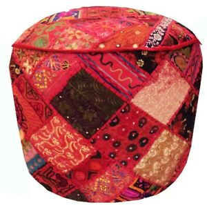 """24"""" BANJARA KUTCH IND FURNITURE OTTOMAN BENCH FOOTSTOOL POUF PILLOW COVER ETHNIC"""