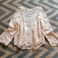 M New Anthropologie Deletta Cream Eyelet Crochet Lace Detail Boho Blouse Top - M