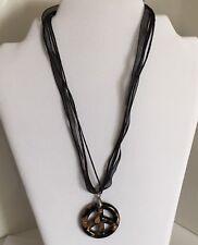 Peace Sign Pendant Necklace 18kgp Black Ribbon Adjustable White Gold