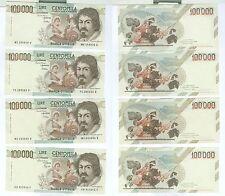 caravaggio 100000 lire 01 04 1983 4 banconote  1° tipo