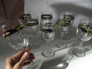 """SET (8) Wine Goblets glasses 7"""" vintage Libbey co Black Band Pink Tulip Flower"""