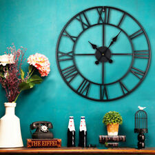 LARGE TRADITIONAL VINTAGE STYLE IRON WALL CLOCK ROMAN NUMERALS HOME 60cm BLACK