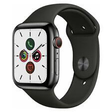 Reloj de Apple serie 5 44mm Gps Celular espacio de acero inoxidable Negro banda de deporte