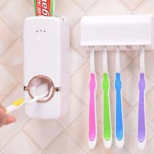 AUTOMATIC TOOTHPASTE DISPENSER AND 5 TOOTHBRUSH HOLDER SET WALL MOUNT RACK BR