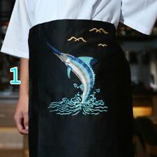Unisex Japanese Embroidery Chef Half Apron Sushi Waiter Work Uniform Retro Black