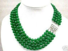 pretty 4 rows 8mm natural green jade round beads necklace