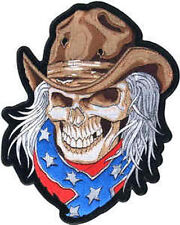 Iron On/ Sew On Embroidered Patch Badge Skull Cowboy Rebel Large