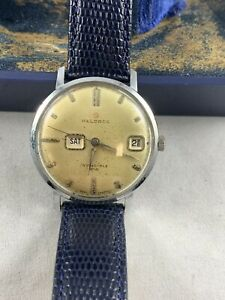 Vintage Helbros DayDate WORKING Man's Wristwatch Box NEW Leather deBeer strap