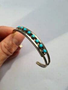 Zuni Style Navajo Cuff Bracelet With Sterling Silver And Turquoise