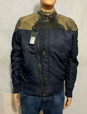 Diesel Black Gold Men's Leather Jacket Nylon Contrast in Navy. Size: 48 RRP £700