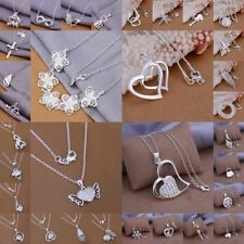 NEW GIFT Women 925 Sterling Silver Plated Jewelry Pendant Necklace Chain