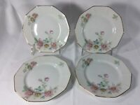 "Lot 4 PT Bavaria ""The Wild Rose"" White & Pink 6 1/4"" Bread Plates - Mint"