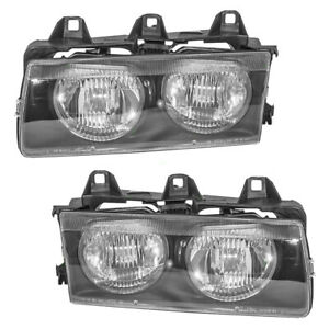Pair Set Headlights Headlamps Lens Housing Assembly for 92-99 BMW 3 Series E36