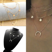 Multi-layer Bead Moon Pendant Choker Necklace Chain Women Jewelry Gold Silver
