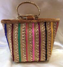 Brown Multi CLR Gold Handbag Clutch Wallet Bollywood Indian Sari Purse Art Silk