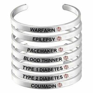 Medical Alert Bracelet Blood Thinner Warfarin Diabetes Stainless Steel Bangle