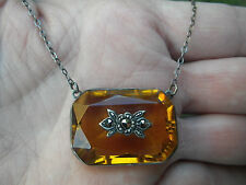 Art Deco Sterling and Amber Glass Necklace with Marcasites